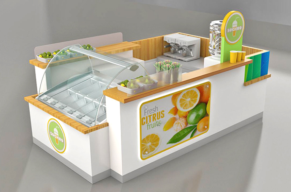 hot selling commercial orange juice kiosk 3d max creative design ideas